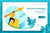 Vector Concept Illustration - Man Overcome Challenges, Profit Stats. Modern Bright Banner, Site Temp poster