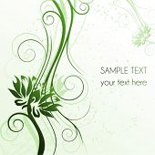 Floral green cover with flowers and place for text,  raster version also available in my portfolio