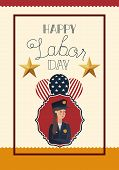 Happy Labor Day Card With Woman Police And Balloons poster