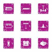 Modern Recreational Icons Set. Grunge Set Of 9 Modern Recreational Vector Icons For Web Isolated On  poster