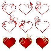 Set of vector hearts.