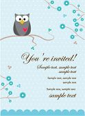 Owl Baby Boy Invitation Card