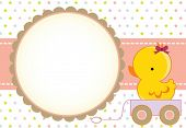 Cute baby girl arrival card