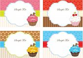 Set of cupcake cards template