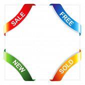 Vector set advertising angular ribbons