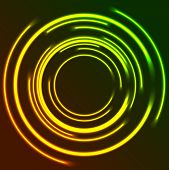 Vibrant Glowing Neon Circles Abstract Background. Vector Design poster