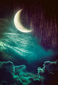 Photo Manipulation. Beautiful Colorful Skyscape With Many Stars And Meteor Shower. Landscape Of Nigh poster