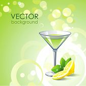 Vector green background with alcohol cocktail and lemon with mint.