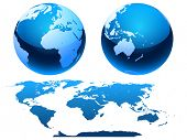 Map of the world and globe. Vector.
