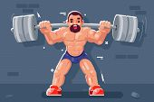 Weightlifter With Barbell Muscles Sport Beautiful Body Flat Design Vector Illustration poster