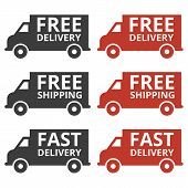Free Delivery And Free Shipping Truck Icons. Vector Illustration poster