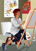 Profession set: attractive painter in her studio