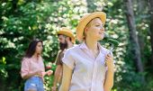 Friends Eating Food Picnic. Nature Conditions Cause Great Appetite. Lady Vegetarian In Straw Hat Eat poster