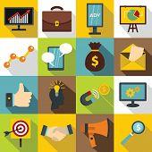 Marketing Items Icons Set. Flat Illustration Of 16 Marketing Items Icons For Web poster