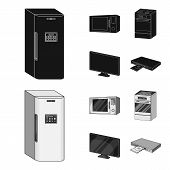Home Appliances And Equipment Black, Monochrome Icons In Set Collection For Design.modern Household  poster
