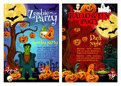 Halloween Zombie Party Invitation Poster For October Holiday Celebration. Autumn Pumpkin, Ghost And  poster