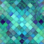 Geometric Abstract Pattern In Low Poly Pixel Art Style. Polka Dot Pattern On Low Poly Background. Ve poster