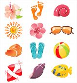 stock photo of hibiscus flower  - summer time icons - JPG