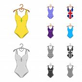 Different Kinds Of Swimsuits. Swimsuits Set Collection Icons In Cartoon, Monochrome Style Vector Sym poster