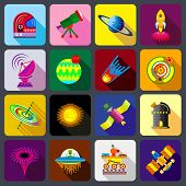 Space Items Icons Set. Flat Illustration Of 16 Space Items Icons For Web poster
