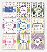 set of birthday cards design