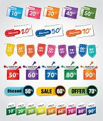 various discount tags & labels