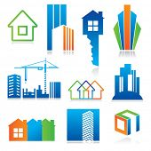 Collection of templates icons - Building of and real estate. Abstract color element set of corporate