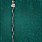 picture of zipper  - abstract green background with close steel zipper - JPG