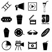 Movie Items Icons Set. Simple Illustration Of 16 Movie Items Icons For Web poster