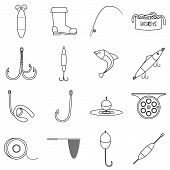 Fishing Tools Items Set. Outline Illustration Of 16 Fishing Tools Items Icons For Web poster