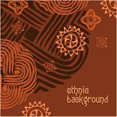 Ethnic background - the template. Vector frame.