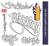 Hip-hop and graffiti text.