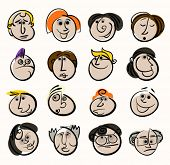 Cartoon face people icons