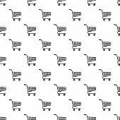 Basket On Wheels Pattern. Simple Illustration Of Basket On Wheels Pattern For Web poster