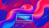 Abstract Modern Background With Trendy Vibrant Gradient. Flow Shapes In Red And Blue Colors. 3d Back poster
