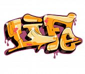 graffiti vector design, word life