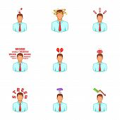 Depressed And Stressed Manager Icons Set. Cartoon Illustration Of 9 Depressed And Stressed Manager I poster