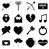 Saint Valentine Items Tools Set. Simple Illustration Of 16 Saint Valentine Items Icons For Web poster