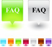 FAQ glossy square web buttons.
