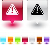 Exclamation sign glossy square web buttons.