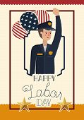 Happy Labor Day Card With Police And Usa Flag Vector Illustration Design poster