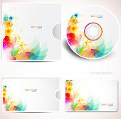 Cover design template of disk and business card. Floral Design