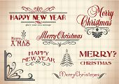 vector set: calligraphic vintage design elements and page decoration - christmas and New Year lettering