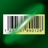 Laser beam from Data Scanner pass through Bar code Label. Vector Illustration