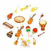Musical Instruments Icons Set. Isometric Illustration Of 16 Musical Instruments Icons For Web poster