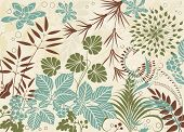 Various plants in retro style as a background