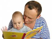 Granddaughter Read Book With Grandfather