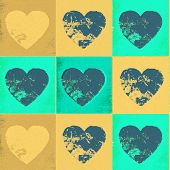 Faded Yellow And Green Vintage Hearts In A Tiled Pattern poster