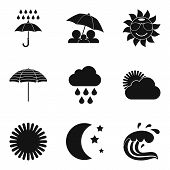 Meteorological Icons Set. Simple Set Of 9 Meteorological Icons For Web Isolated On White Background poster
