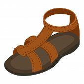Summer Sandal Icon. Isometric Illustration Of Summer Sandal Icon For Web poster